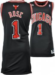 Derrick Rose Chicago Bulls Autographed Swingman Adidas Black Jersey