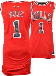 adidas Derrick Rose Autographed Swingman Jersey - Red - Mounted Memories