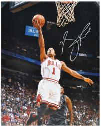Derrick Rose Chicago Bulls Autographed 16'' x 20'' vs. Miami Heat Photograph - Mounted Memories