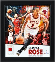 "Derrick Rose Chicago Bulls Framed 15"" x 17"" Collage with Game-Used Jersey-Limited Edition of 501 - Mounted Memories"