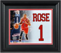 Derrick Rose Chicago Bulls Framed 12'' x 14'' Jersey Number Collage - Mounted Memories