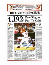 """Pete Rose Cincinnati Reds Autographed 19"""" x 25"""" Cincinnati Enquirer Poster with 4192 Inscription"""