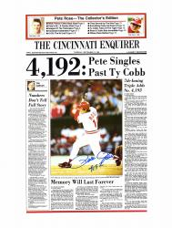 "Pete Rose Cincinnati Reds Autographed 19"" x 25"" Cincinnati Enquirer Poster with 4192 Inscription"