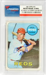 Pete Rose Cincinnati Reds Autographed 1969 Topps #120 Card with 4256 Inscription - Mounted Memories