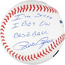 Pete Rose Autographed Baseball with I'm Sorry I Bet On Baseball Inscription