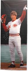 Pete Rose Autographed Banner with Hit King and 4256 Inscription