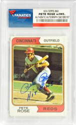 Pete Rose Cincinnati Reds Autographed 1974 Topps #300 Card with Hit King Inscription - Mounted Memories