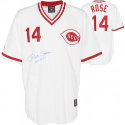 Majestic Cooperstown Pete Rose Cincinnati Reds Autographed 1976 Jersey with ''Hit King'' Inscription - Mounted Memories