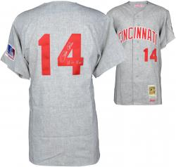 Pete Rose Cincinnati Reds Autographed 1969 Mitchell & Ness Gray Jersey with Hit King Inscription - Mounted Memories