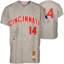 Pete Rose Cincinnati Reds Autographed Mitchell & Ness Gray Jersey with Hit King 4256 Inscription