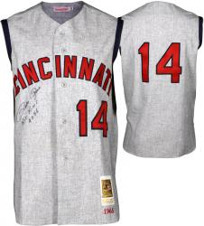 Pete Rose Cincinnati Reds Autographed 1965 Jersey Vest with Hit King #4256 Inscription - Mounted Memories