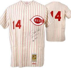 Pete Rose Cincinnati Reds Autographed Mitchell & Ness Pinstripe Jersey with Hit King 4256 Inscription