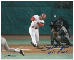 "Pete Rose Cincinnati Reds Record Breaking At Bat Autographed 8"" x 10"" Photograph with Hit King Inscription"