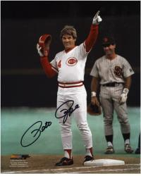 "Pete Rose Cincinnati Reds Record Breaking 4192 Hits Autographed 8"" x 10"" Photograph"