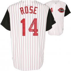 Pete Rose Cincinnati Reds Autographed Pinstripe Majestic Athletic Jersey with HOF?? Inscription - Mounted Memories