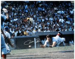 "Pete Rose Cincinnati Reds Autographed 16"" x 20"" Silver Ink Head First Slide Photograph"