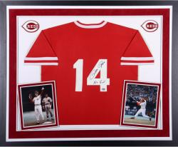 Pete Rose Cincinnati Reds Autographed Deluxe Framed 1985 Mitchell & Ness Red Jersey with Hit King Inscription