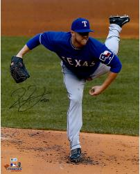 "Robbie Ross Texas Rangers Autographed 16"" x 20"" Pitching Kick Photograph"