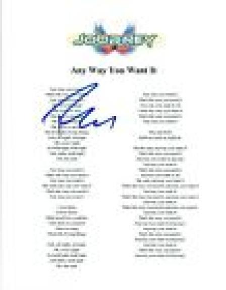 "Ross Valory Signed Autograph Journey ""Any Way You Want It"" Lyric Sheet COA"