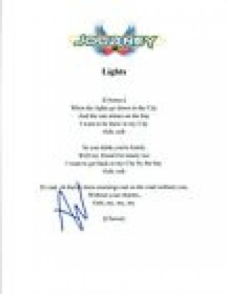 "Ross Valory Signed Autograph Journey ""Lights"" Lyric Sheet COA"