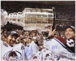 Colorado Avalanche Patrick Roy and Ray Bourque Autographed 16'' x 20'' Photo - Mounted Memories