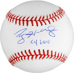 Rawlings Roy Halladay Philadelphia Phillies Autographed Baseball with ''CY 2010'' Inscription - Mounted Memories