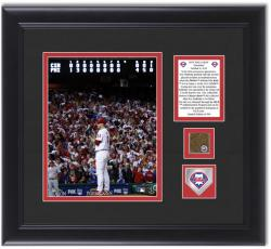 "Roy Halladay Philadelphia Phillies Doc-tober Framed 8"" x 10"" Photograph with Game Used Dirt and Logo - Mounted Memories"
