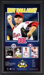 Roy Halladay Philadelphia Phillies Retirement Framed 10'' x 18'' Collage with Game-Used Ball - Limited Edition of 500 - Mounted Memories
