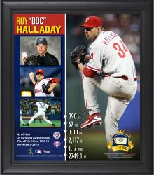 Roy Halladay Philadelphia Phillies Retirement Framed 15'' x 17'' Collage with Game-Used Ball - Limited Edition of 500 - Mounted Memories