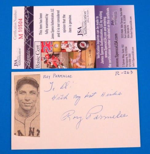 ROY PARMALEE SIGNED 3x5 INDEX CARD ~ NY GIANTS (D. 1981) ~ JSA M10504