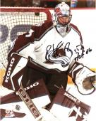 Patrick Roy Colorado Avalanche Autographed 8'' x 10'' Photograph with ''HOF 06'' Inscription - Mounted Memories