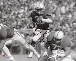 "Mike Rozier Nebraska Cornhuskers Autographed 8"" x 10"" Horizontal B&W Photograph with Heisman 1983 Inscription"