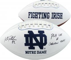 Kyle Rudolph Notre Dame Fighting Irish Autographed White Panel Football with Play Like A Champion Inscription - Mounted Memories  - Mounted Memories