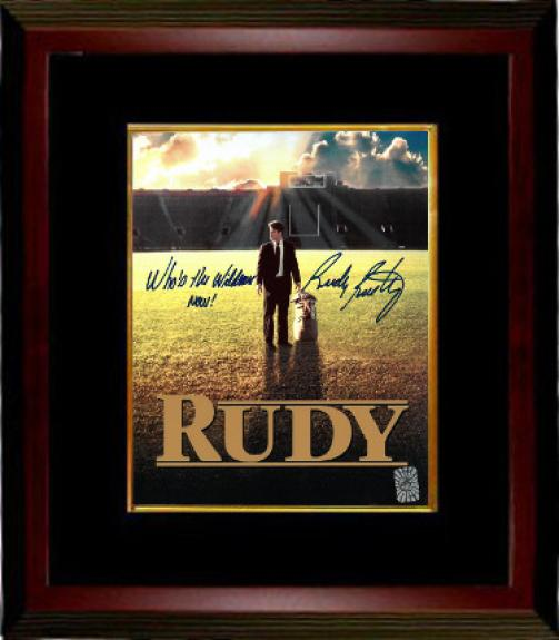 Rudy Ruettiger signed Notre Dame Fighting Irish Movie Poster 8x10 Photo Custom Framing Who's the Wildman Now!- Rudy 45 Hologram