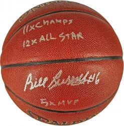 Bill Russell Boston Celtics Autographed Spalding Indoor Outdoor Basketball with Multiple Inscriptions-Limited Edition of 6 - Mounted Memories