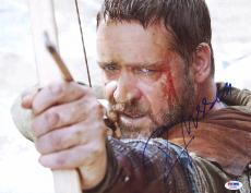 "Russell Crowe Autographed 11"" x 14"" Robin Hood Bow & Arrow Photograph- PSA/DNA COA"
