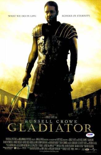 "Russell Crowe Autographed 12"" x 18"" Gladiator Movie Poster - PSA/DNA"