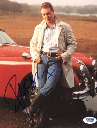 "Russell Crowe Autographed 8""x 10"" Posing in Front of Red Car Photograph - PSA/DNA COA"