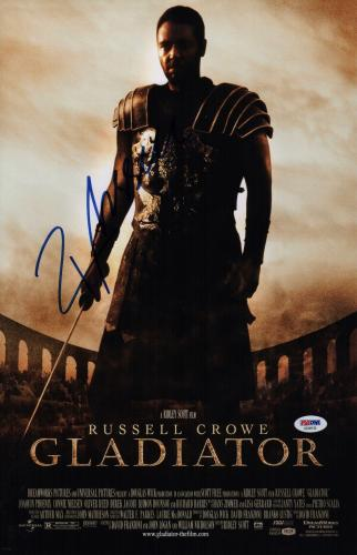 Russell Crowe Signed Gladiator 11x17 Movie Poster Psa Coa Ad48135