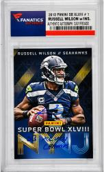 Russell Wilson Seattle Seahawks Autographed 2013 Panini SB #1 Card with SB XLVIII CHAMPS Inscription - Mounted Memories