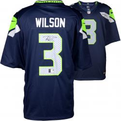 Russell Wilson Seattle Seahawks Autographed Nike Limited Blue Jersey - Mounted Memories