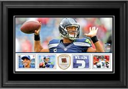 "Russell Wilson Seattle Seahawks Framed 10"" x 18""  Panoramic with Piece of Game-Used Football - Limited Edition of 250"