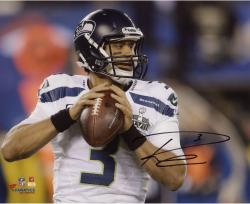 Russell Wilson Seattle Seahawks Super Bowl XLVIII Champions Autographed 8'' x 10'' Throwing Photo - Mounted Memories