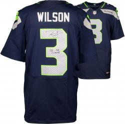Nike Russell Wilson Seattle Seahawks Super Bowl XLVIII Champions Autographed Elite Jersey with SB XLVIII Champs Inscription - College Navy