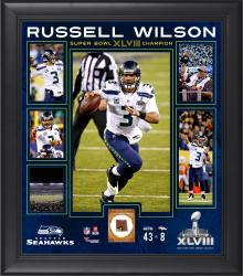 Russell Wilson Seattle Seahawks Super Bowl XLVIII Champions Framed 15'' x 17'' Collage with Game-Used Ball - Mounted Memories