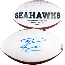 Russell Wilson Seattle Seahawks Autographed Seahawks Logo Football - Mounted Memories