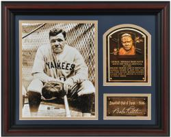 Babe Ruth New York Yankees Framed Hall of Fame Milestones & Memories Photograph with Facsimile Signature - Mounted Memories