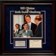 Ruth Bader Ginsburg Bill Clinton Supreme Court Signed Autograph Photo Frame JSA