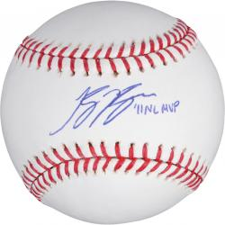 Ryan Braun Autographed Baseball with 11 NL MVP Inscription - Mounted Memories