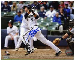 "Ryan Braun Milwaukee Brewers Autographed 8"" x 10"" White Uniform Photograph"